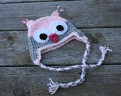 Baby crochet owl hat with ties in pink and grey 0-3 months READY TO SHIP
