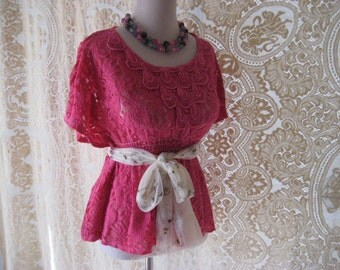 Sale Hot pink lace blouse, hand dyed, boho chic, shabby lace blouse, country chic clothes, size medium