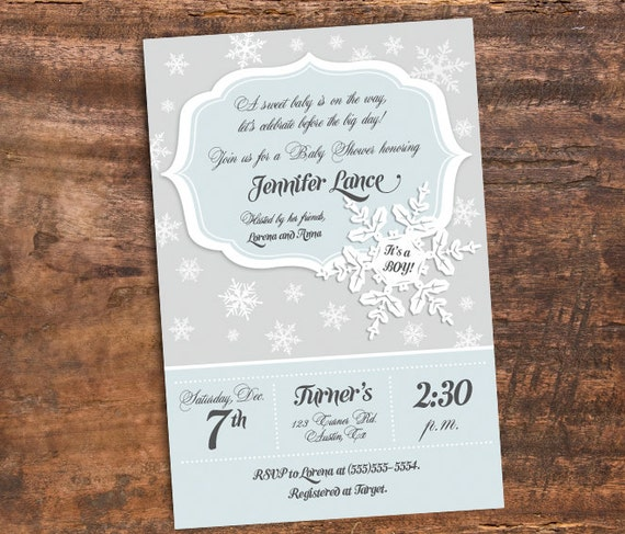 Items Similar To Winter Baby Shower Invitation, Winter Wonderland Baby  Shower, Holiday Baby, Christmas Baby, Snowflake Theme   Printable DIY On  Etsy