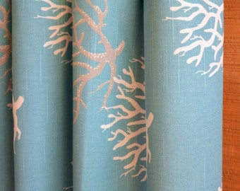SUMMER SALE! Designer Curtain Panels 24W or 50W x 63, 84, 90, 96 or 108L Isadella Coastal Blue Grey shown, Beach House Curtains