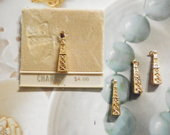 4 Goldplated Oil Tower Charms