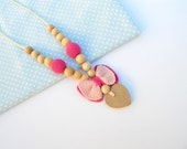 Pink Heart Crochet Nursing Necklace / Crochet Jewelry for Babies / Teething Necklace/ Breastfeeding Mother Gift/ Baby Shower Gift