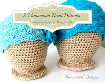 CROCHET PATTERN NEWBORN/Infant & Toddler Mannequin Head Hat Display