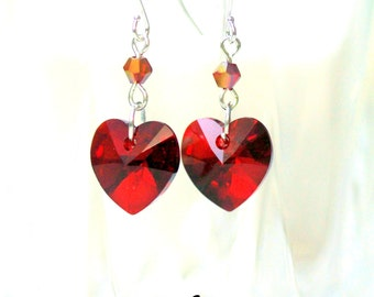 Red Heart Earrings Swarovksi Heart Crystal Red Earrings Heart Earrings Dangle Earrings Red Jewelry Holiday Jewelry Valentine Gift SI37