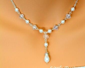 Swarovski Pearl Bridal Necklace, Teardrop Pearl and Crystal Necklace, Sterling Silver Bridal Necklace, Bridesmaids Necklace, TWINKLE