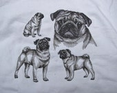 """Embroidered """"Pug"""" Sketch Hoodie"""