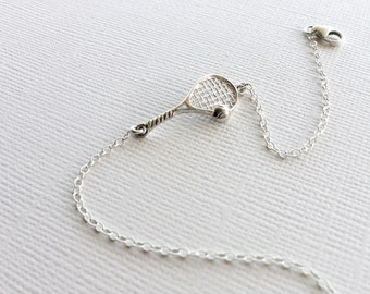 Tennis Racket Bracelet in Sterling Silver