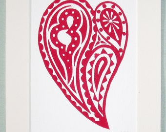 Print - 'Heart 3'.  Red on white, block print of a decorative heart motif.