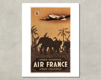 Air France - Afrique Occidentale - Afrique Equatoriale - 8.5x11 Poster Print - also available in 11x14 and 13x19 - see listing details