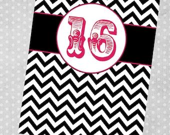 Chalkboard Style Birthday Party Invitation Printable Digital...back side option