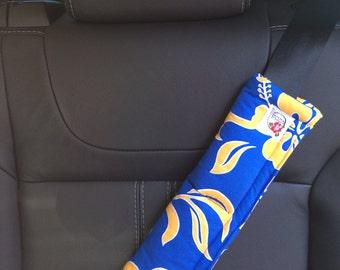 Adult Seat Belt Strap Cover Set, Hula Moon Adult Seat Belt Strap Cover Set in Blue and Gold Hawaiian