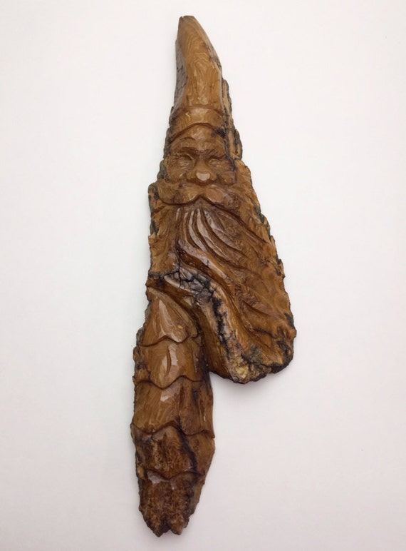 Hand carved santa and christmas tree in cottonwood bark