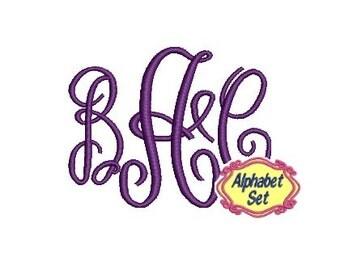 Script Machine Embroidery Font Monogram Alphabet, Fancy Font, Alphabet Set of Letters, Instant Download