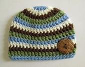 Baby Hat, Crochet Baby Hat, Crochet Baby Boy Hat, Baby Beanie, Striped Hat, Striped Beanie, Newborn, Toddler, Button, Blue,  Photo Prop