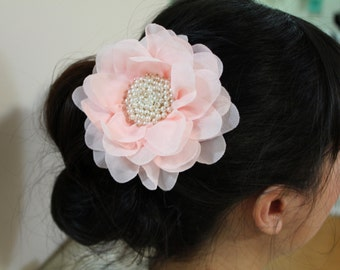 Wedding/Bridesmaid/Prom Hair piece- Pink flower with pearls