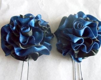 Hair Pins Navy Blue and Black Satin Ruffle Flower Women Teens Girls Wedding Bridal Bridesmaids Flowergirls