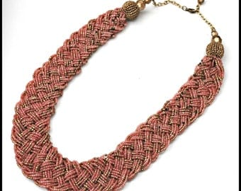 Torsade necklace Pink and Gold Braided bead