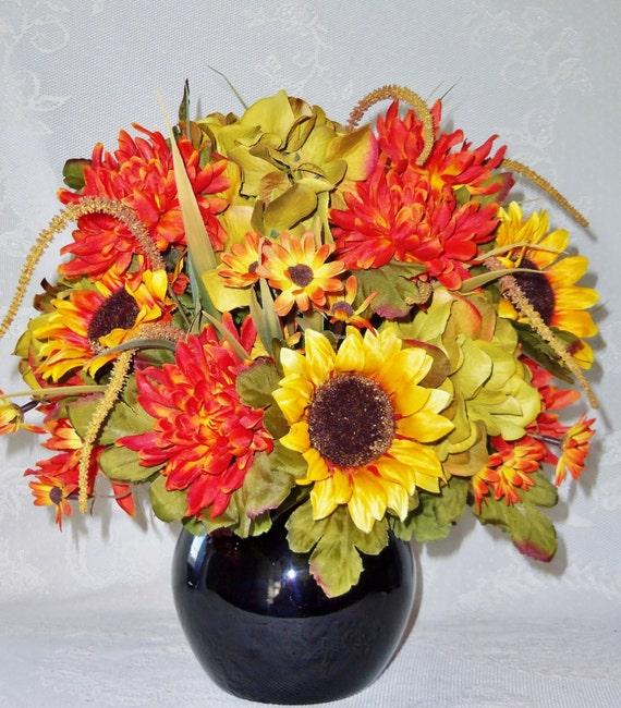 Silk Orange Fall Flowers: Artificial Flower Arrangement Gold/Orange Sunflowers Orange