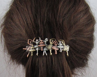 Ballet French Barrette 80mm Sterling Silver Copper Brass Ox