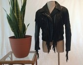 Vintage Black Leather Fringe Jacket