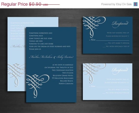 blue and silver scroll wedding invitations set swirls With scroll wedding invitations with rsvp cards