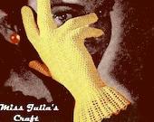 Vintage Lace Net Gloves With Large Cuffs 654 PDF Digital Crochet Pattern