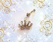 The Mighty Silver Crystal Crown, 50% OFF SALE, Belly Button Ring, Belly Button Jewelry For women or Teens