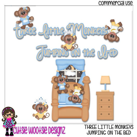 Items similar to Three Little Monkey Jumping On The Bed ...