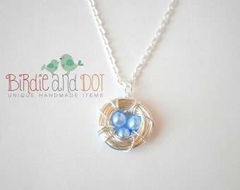Silver Bird Nest Necklace with Light Blue Glass Pearls - Three Birds Nest