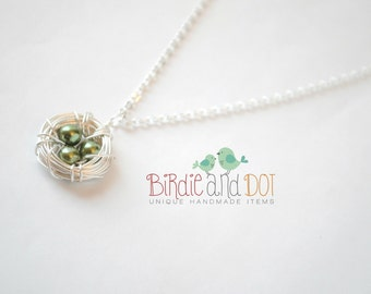 Birds Nest Necklace - Jewelry - Silver Plated Wire Wrapped Glass Pearl Eggs - Mother