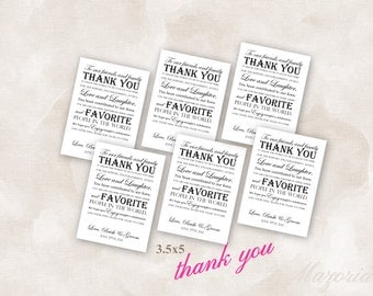 Thank You Wedding Reception Place Setting Cards Instant Download Just add your info and print!