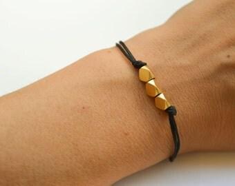 Nuggets bracelet, black bracelet, matt gold nugget beads cubes, geometric bracelet, charm bracelet, minimalist jewelry, gift for her, beads