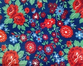 Vintage Cotton Fabric, Vintage Sewing Supplies, USSR 1980's Floral Print Fabric, red, blue, green flowers on a dark blue background