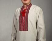 Men vyshyvanka. Ukrainian national clothes. Ukrainian embroidered shirt for boys and men. 100% linen, cotton. Ukrainian embroidered shirt