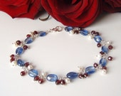 RESERVED FOR DAFNA Kyanite, garnet & pearl bracelet, sterling silver jewelry