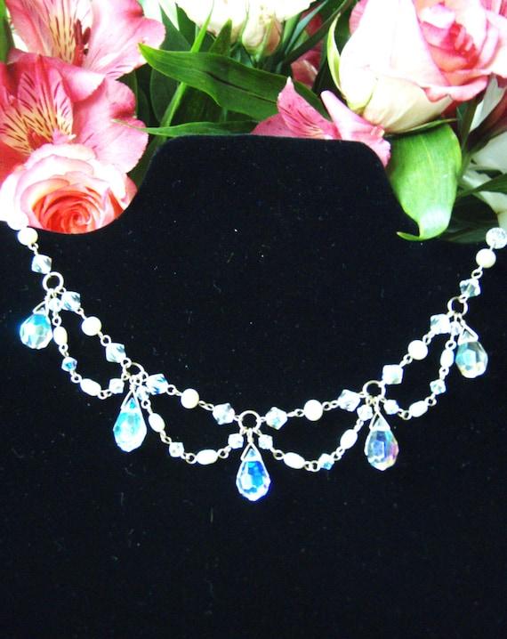 Reserved - Swarovski chandelier necklace pearl goldfilled jewelry OOAK