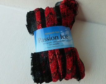 Yarn Sale  - Red with Black  Passion Ice by Plymouth Yarn