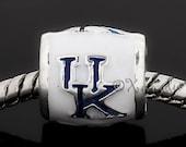 University Of Kentucky Wildcats Football Team Logo European Bead - College Football Charm Bead For European Charm Bracelets