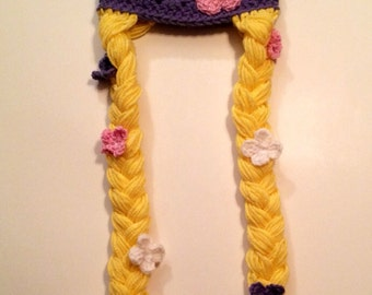 Crocheted Hat with Braids and Flowers, size  3 years and up.