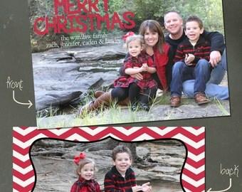 "Custom Christmas Card: ""Red Chevron Christmas"""