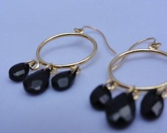 14K solid yellow gold hoop earrings with black onyx , teardrops black onyx earrings,solid gold dangle hoop earrings