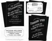 Black & White Steampunk Victorian Wedding Invitations, RSVP, Thank You Cards // Digital Files