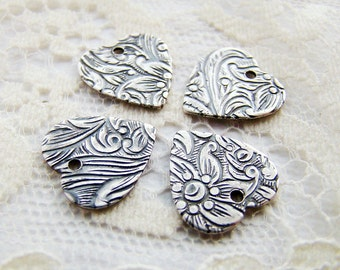 Antiqued Silver Ox Floral Embossed Heart Charms Drops - 6