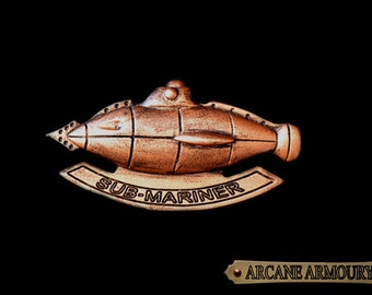 Steampunk Sub-Mariner Badge Kracken hunting Copper Finish