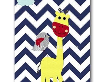 Giraffe Nursery Baby Boy Nursery art print Childrens Wall Art Baby Room Decor Nursery Decor Kids Print Baby Wall Art blue yellow gray