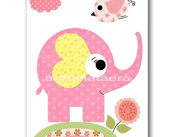 Elephant Nursery Decor Baby Girl Nursery Art Decor Nursery Wall Art Baby Nursery Decor Kids Room Decor Kids Art Rose Yellow Green