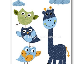 Giraffe Nursery Owl Nursery Kids Wall Art Baby Nursery Decor Baby Boy Nursery Kids Art Baby Room Decor Nursery Prints Blue Green Baby