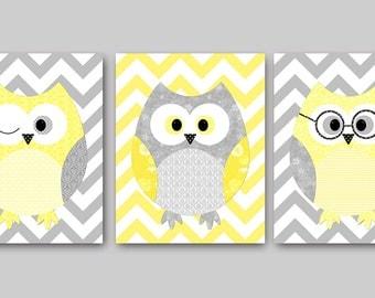 Owl Decor Owls Nursery Baby Nursery Art Decor Kids Wall Art Baby Girl Nursery Print Baby Room Decor Kids Art Girl Print set of 3 Yellow