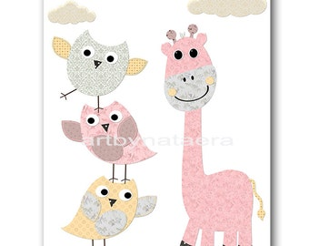 Kids Wall Art Giraffe Nursery Baby Girl Nursery Art Nursery Wall Art Baby Nursery Decor Kids Room Decor Kids Art Girl Print Rose Gray