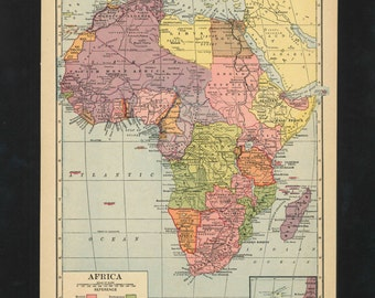 Vintage Map Africa From 1943 Original
